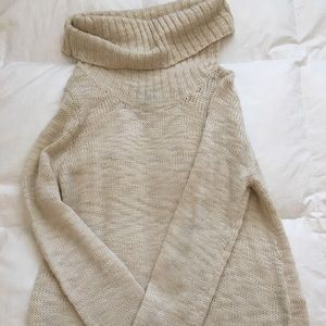Long tunic-like sweater with built in floppy neck